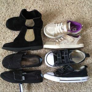 Girls size 9 shoe lot- black & gold
